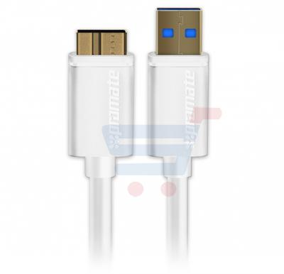 Promate Super Speed USB 3.0 Type A Male to Micro B Male for External Hard Drives Toshiba/WD/Hitachi/Samsung, LINKMATE-U4.WHITE