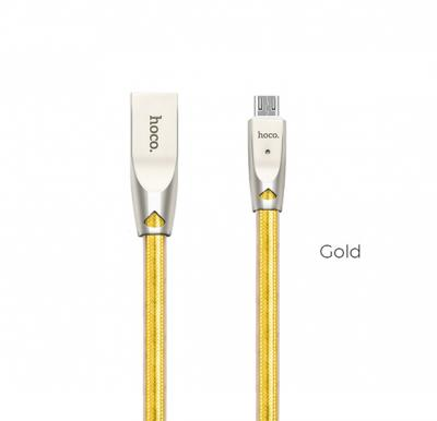 Hoco U9 Zinc Alloy Jelly Knitted Lightning Charging Cable(L=1.2), Gold
