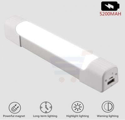 5200mAh Power Bank 6 Modes Lamp Stick Rechargeable Battery with Strong Magnet Tail Rope with USB Cable Portable work inspection Flashlight LED Camping Light