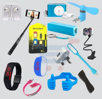 14 in 1 Super Deal Offer! Mini MP3 Player + Selfie Stick + Phone Grip + Power Bank + USB Fan + OK Stand + LED Light + Sim Adaptor + Ear Phones+ Lazy Bracket + 3 Pin Plug + Bangle Digital Watch + LED Digital Watch + Data Charge Bracelet.