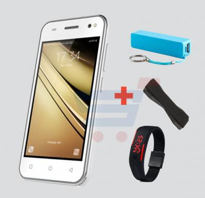 Kagoo S11 3G Smartphone,Android OS,4.0 Inch LCD Display,512MB RAM,2GB Storage,Dual Camera-White And Get Powerbank,Wrist Band Watch And Mobile Grip Free!!