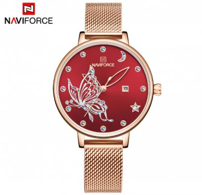 Naviforce Women  Butterfly Stainless Steel  Watch NF5011- Red