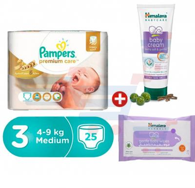 Bundle Offer Pampers Premium Care Carry Pack 4-9Kg, CP-25 Count (1x25Pcs)+Himalaya Baby Cream 100 ML+Himalaya Gentle Cleansing Baby Wipes 24s