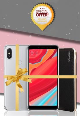 Xiaomi Redmi S2, Dual SIM, 64GB, 4GB RAM, 4G LTE, Pink/Grey, (Global Version) + Nevica Power Bank - Battery : 10000 mAh, Xaiomi Mobile Bundle Offers