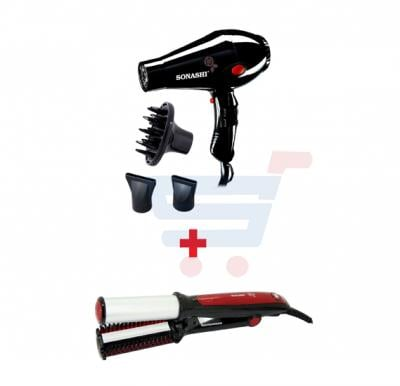 Bundle-Combo Offer Sonashi Rotating Hair Curler Red-Black SHC-3004 + Sonashi Hair Dryer 2000 Watts With Diffuser  Black SHD-3013