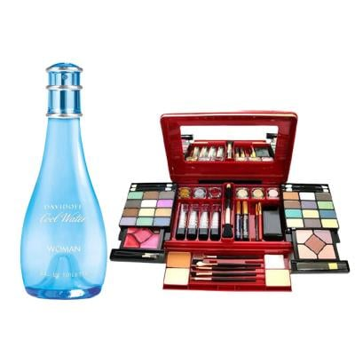 2 In 1 Davidoff Cool Water 100ml Edt Spray For Women And Bellezza Italy Makeupkit Red, NO.788