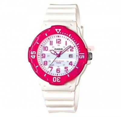 Casio Analog Watch For Girls, Pink Dial With White Resin Band-LRW-200H-4B