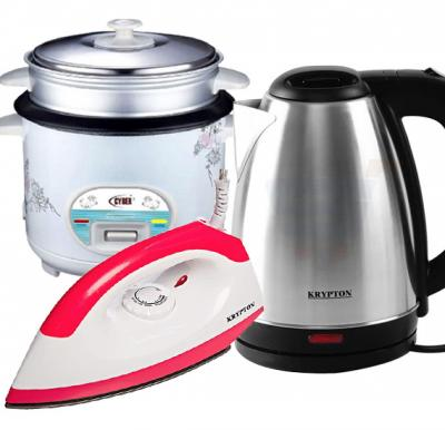 3 in 1 Bundle Pack Krypton Water Kettle 1.8Litre Krypton, KNK6009, Krypton Dry Iron KNDI6001 With Cyber Multi-Functional Automatic Rice Cooker 1.6 Liter CYRC-7173 White
