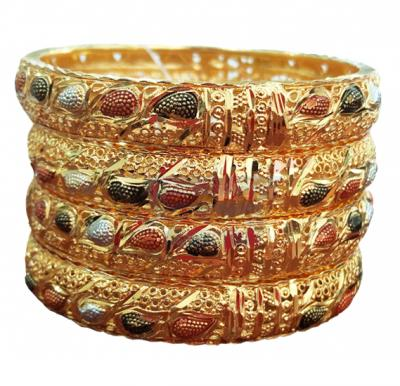 Nathasha Arts 22K Gold Plated Colored Paisley Design Bangles for Baby Girls, 4 Piece Set No. 180