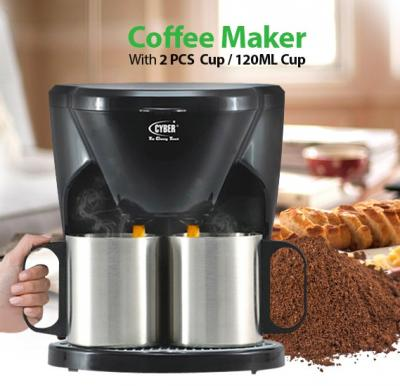 Cyber Coffee Maker With 2 Pcs 120ML/240ML Cup, CYCM-823