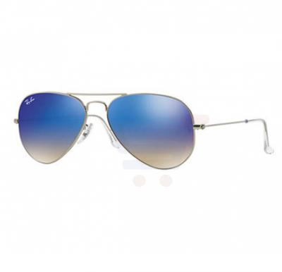 Ray-Ban Pilot Silver Frame & Blue Gradient Flash Mirrored Sunglasses For Women - RB3025-019-8B-58