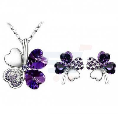 Clover White Gold And Black Jewerly Set, MM00012