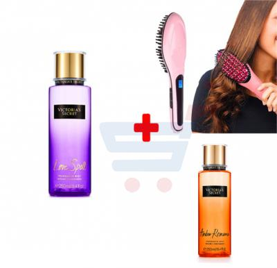3 in 1 Bundle offer – Victoria Secret Love Spell 250ml Body Mist + Hair Straightening Brush + Victoria Secret Amber Romance 250ml Body Mist