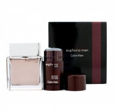 Calvin Klein Euphoria Gift Set 100ml EDT with 75ml Deodorant Stick For Men