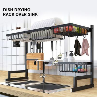 Dish Drying Rack Over Sink,HabiLife Kitchen Hanging Drying Dish Supplies Storage Shelf Utensils Holder Stainless Steel Display-Countertop Space Saver Stand (Black)