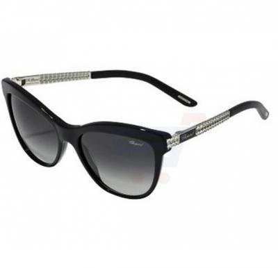 Chopard Aviator Shiny Black Frame & Grey Gradient Sunglass Mirrored For Women - SCH189S-0700