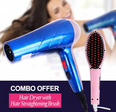 Combo Offer OSP Hair Dryer With Cool Shot 2200W - CYHD-9092 & Hair Straightening Brush HQT-906