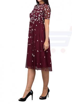 TFNC London Baby Sheer Formal Dress Wine - LNB 18370 - L