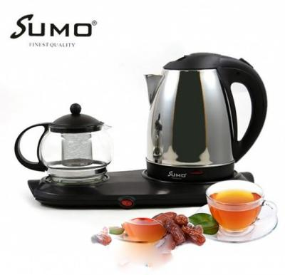 Sumo 3 In 1 Electric Stainless Steel Kettle Tea Tray Set