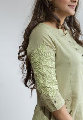 Ruky Fareen Linen Women Long Top Kurti Full Sleeve - RF 223 - M