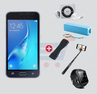 Bundle Offer! Kagoo J120 Smartphone, 4G, 1GB RAM, 8GB Storage, 4.5 Inch HD Display, Dual Sim, Dual Camera, And Get Bluetooth Smart Watch, MP3 Player, Power Bank, Selfie Stick And Mobile Grip Free, Black
