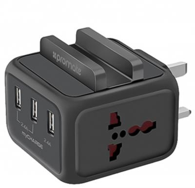 Promate USB Wall Charger, Heavy Duty Charger with Smartphone Dock with 24W Dual Universal AC Sockets and 4.8A Three USB Ultra-Fast Charging Ports for All Smartphones, Cameras and Tablets, MyCharge Black