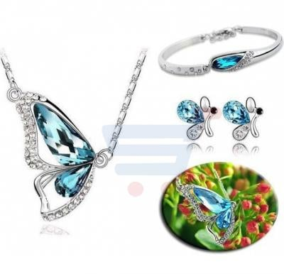 18K White Gold Plated Crystal jewelry set