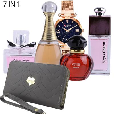 6 In 1 Forever Young Short And Slim Womens Fashion Wallets Assorted Colors Veyes fragrances Perfume gift box for Ladies 25ml x 4 Piece And CURREN Ladies Fashion Waterproof Watch Assorted Colors