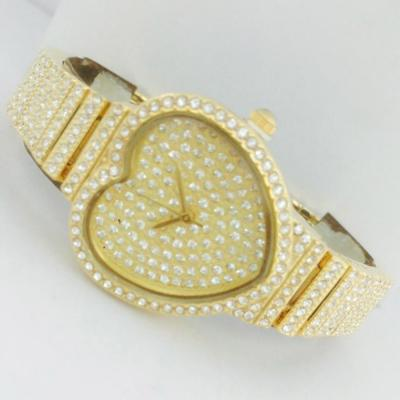 Catwalk Fashionable Cz Stone Covered Analog Stainless Steel Gold Dial Watch for Women, CW1009