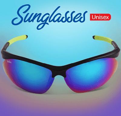 A&H Sunglasses Unisex Black & Green, AH8534
