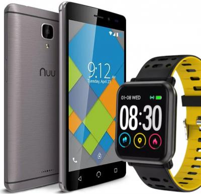 Nuu A4L Plus 1GB 16GB Android Smart Phone-Grey And Get FREE Xtouch W04 Smart watch-Black