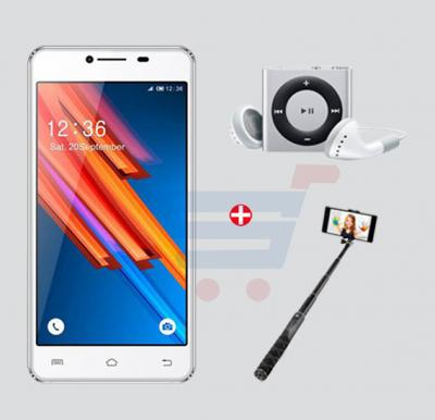 Bundle Offer! Inspire R6 Smartphone, 4G, Android 5.1, Quadcore, 5Inch IPS HD Super Retina Display, 2GB RAM, 16GB Storage, Dual Camera, Dual SIM - White & Get MP3 Player + Selfie Stick FREE