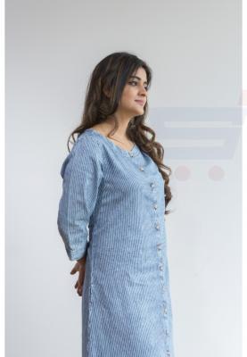 Ruky Fareen Denim Women Long Top Kurti Full Sleeve - RF 202 - L