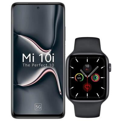 2 In 1 Xiaomi Mi 10i Dual SIM Midnight Black 6GB RAM 128GB Storage 5G And W26  IPS Color Screen Smart Watch 44mm Black