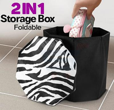 2 in 1 Foldable Storage Box and Stool, Assorted Color and Design - SF3603
