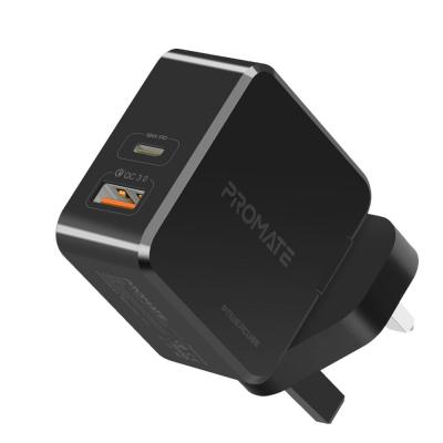 Promate USB C Power Delivery Charger 36W Fast Charging Dual Port Wall Charger with Type C Power Delivery Qualcomm Quick Charge 3.0 Port, POWERCUBE.BLK-UK