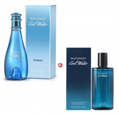 Couple Combo Offer - Davidoff Cool Water Perfume for Men 75 ml + Davidoff Cool Water Women Edt 100 ml Perfume