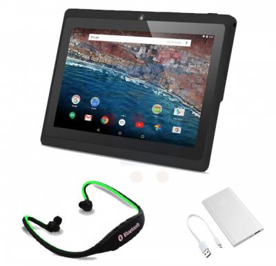 Bundle offer ! BSNL B25 Tablet, 8 GB, Android OS, 7.0 Inch LCD Display, Quad Core Processor - Black, Multi color 5000 mah ultra slim power bank for smartphone and Wireless Bluetooth Sports Headset