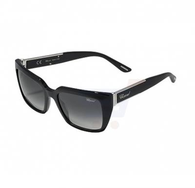 Chopard 0700 Shiny Black Frame & Smoke Grey Gradient Mirrored Sunglasses For Women - SCH187S-0700