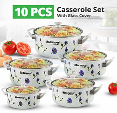 Olympia White Color Casserole 10 Pcs Set With Glass Cover, OE-004
