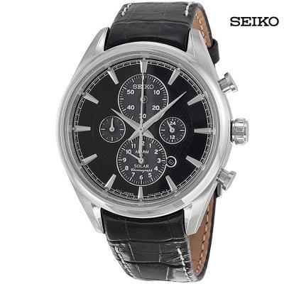 Seiko Men Solar Chronograph Grey Dial Black Leather Watch, SSC211P2