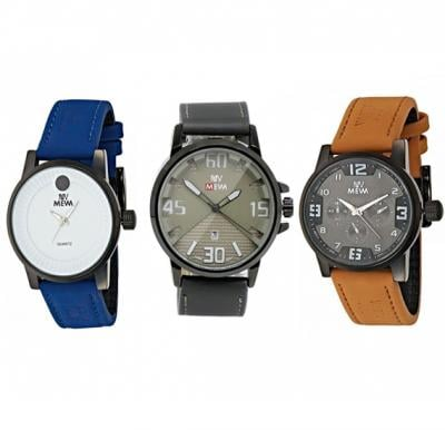 Mewa  Wrist Watch 3 In 1 Saver Pack For Men