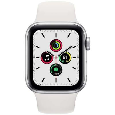 Apple Watch SE-44mm GPS Silver Aluminium Case with White Sport Band