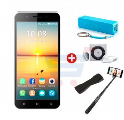 Bundle Offer, Enes G3 3G Smartphone, 4.0 Inch Display, 1GB RAM, 8GB Storage,MP3 Player, Power Bank, Selfie Stick & Mobile Grip - Black