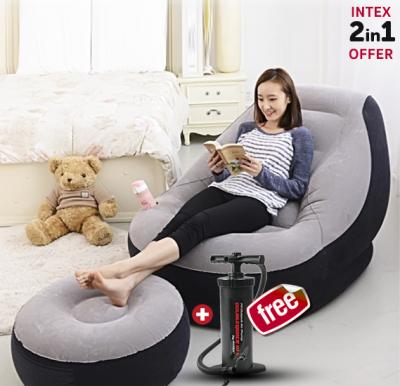 2 In 1 Bundle Intex Air Chair with Footrest & Get Free Intex Manual Air Pump, 68564