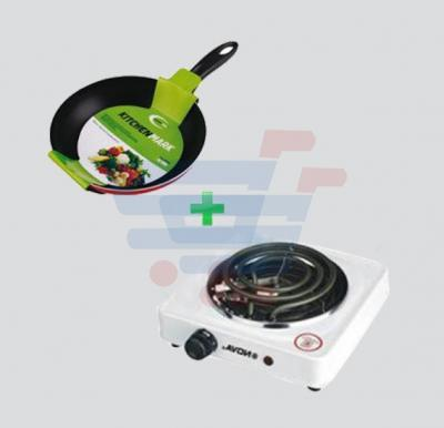 Bundle Offer! Nova Single Hot Plate NH-3415-1, 1000 Watts + Kitchenmark Fry Pan -2315