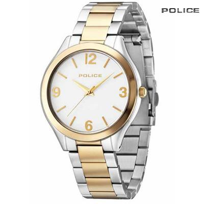 Police Analog Silver And Gold Stainless Steel Watch For Women, PL14497JSTG/01M