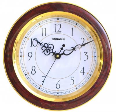 Sonashi  Wall Clock 28cm-Dark Wood, SWC-804