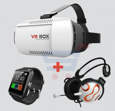 Bundle offer! VR Box Virtual Reality 3D Glasses + Keenion KOS-730 Headset + Bluetooth Smart Watch
