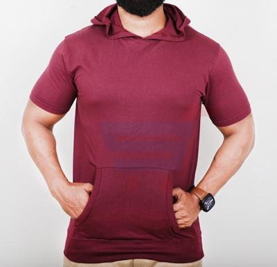 Highlander Mens Cotton Hoodie Half Sleeve Maroon - Large